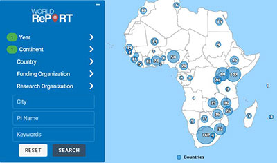 Screenshot of World Report research awards on the African continent.