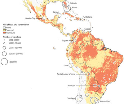 Heat map of Americas shows how Zika virus could spread from South America to the Caribbean, Mexico and the US