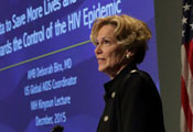Dr Deborah Birx speaks at a podium at NIH