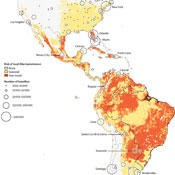 Heat map of Americas shows how Zika virus could spread from South America to the Caribbean, Mexico and the United States