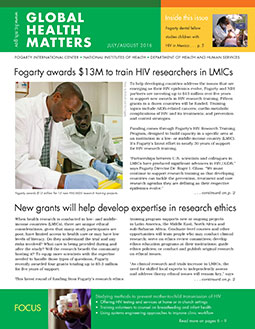 Cover of July August 2016 issue of Global Health Matters