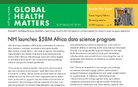 Part of the Global Health Matters newsletter cover for the July August 2020 issue.