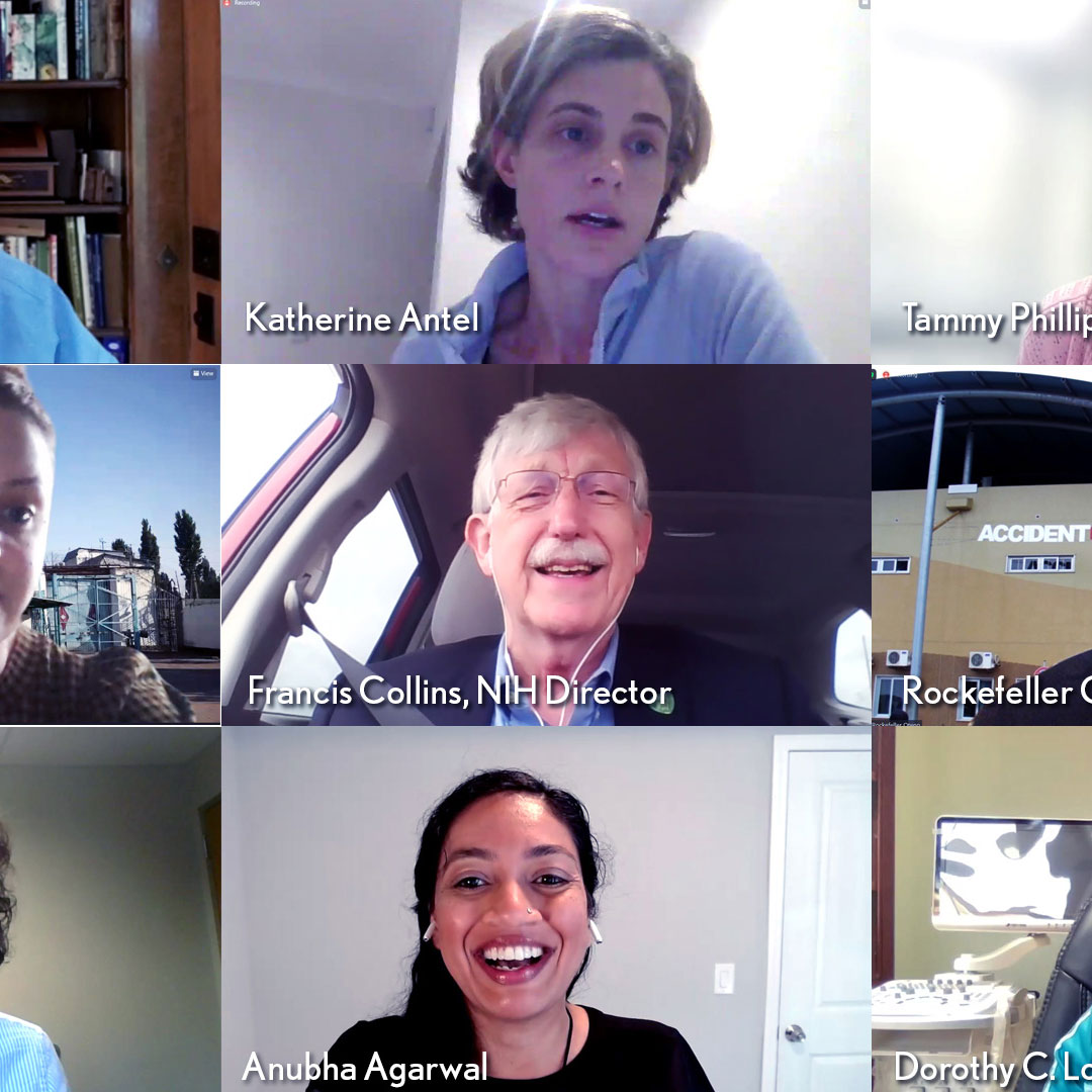 Image of zoom screen containing eight scientists meeting with Dr Francis Collins
