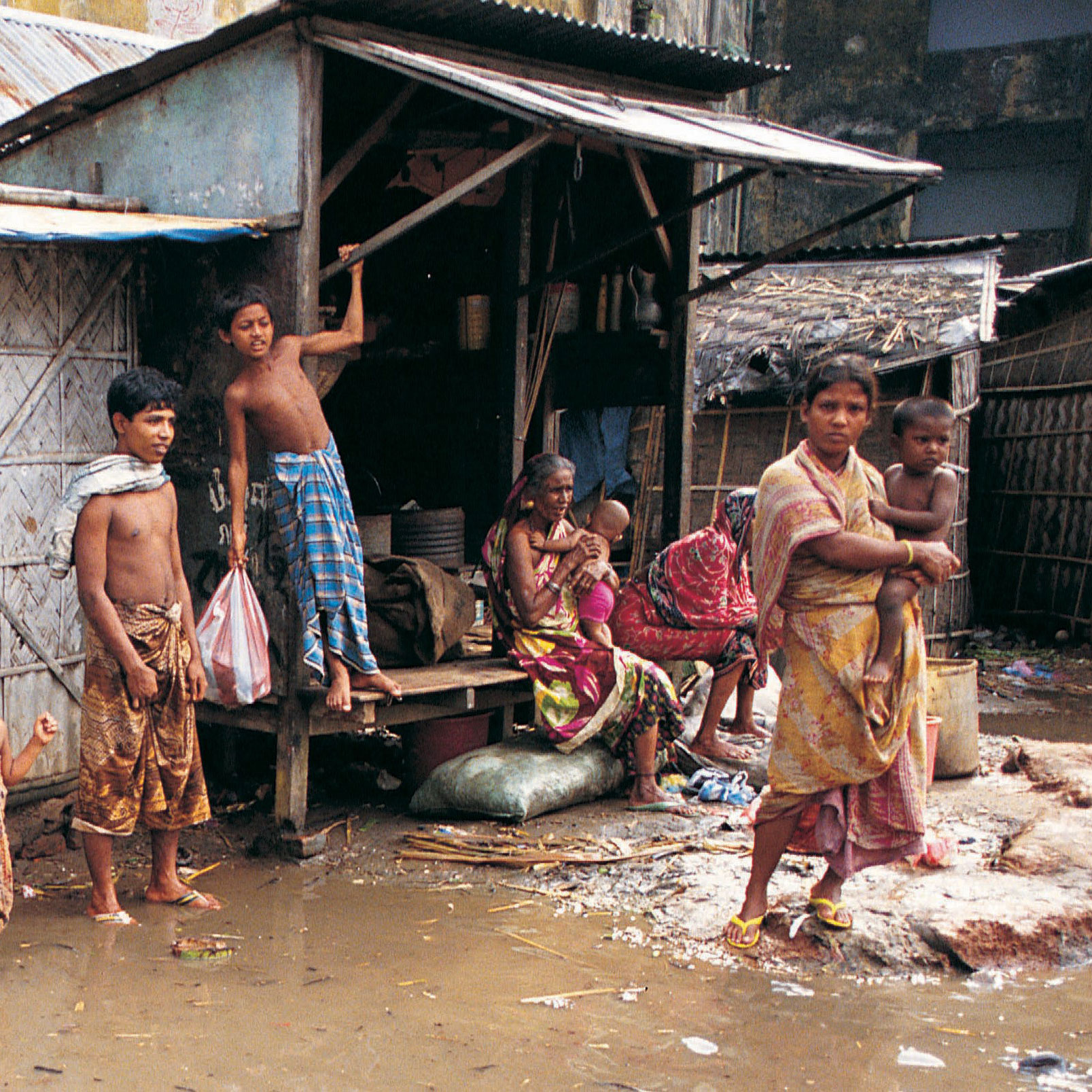 Family views flooding outside their home