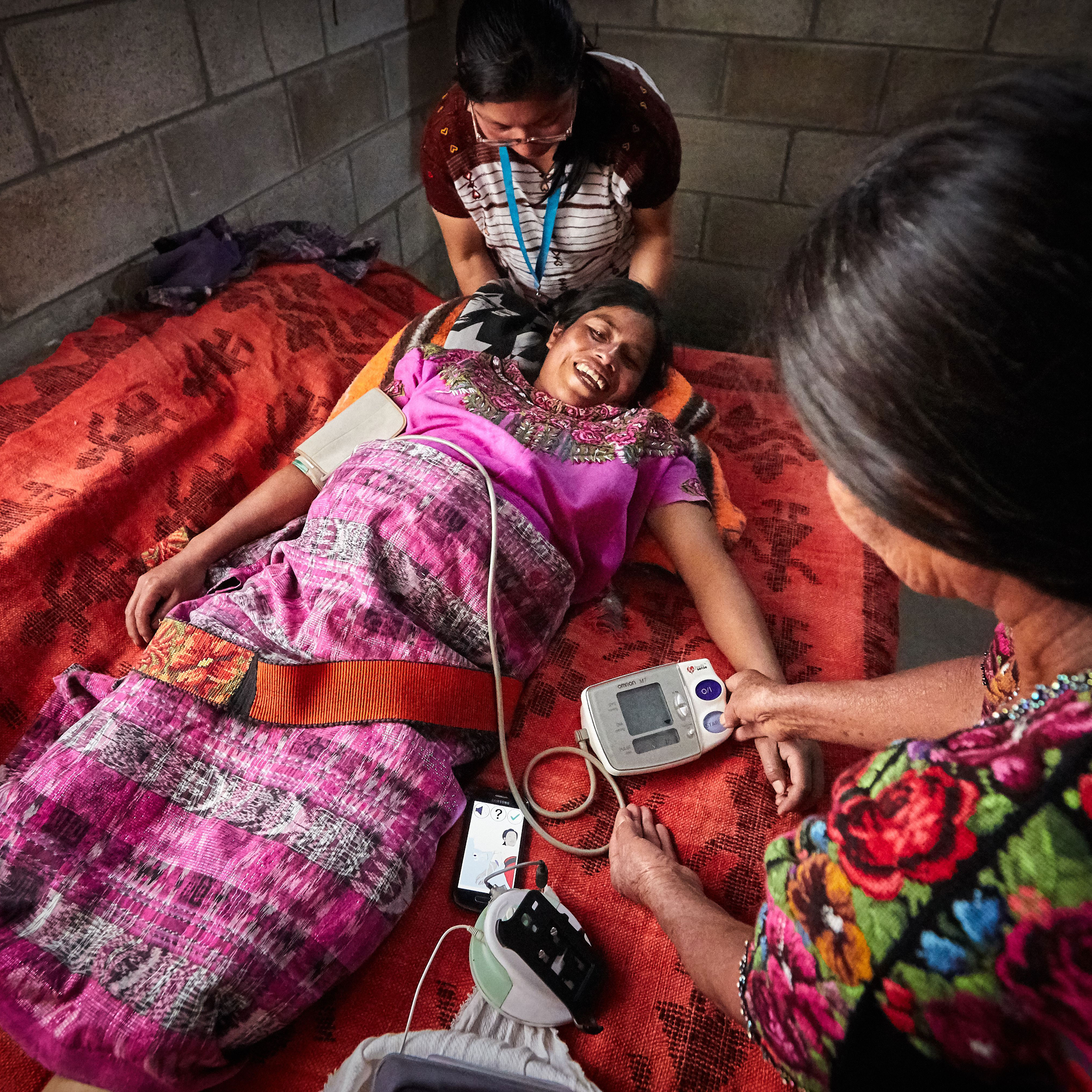 Pregnant woman being monitored
