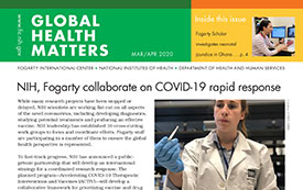 Part of the Global Health Matters newsletter cover for the March April 2020 issue.