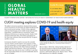 Part of the Global Health Matters newsletter cover for the March April 2021 issue.