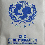Packet produced by UNICEF of oral rehydration salts ORS