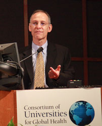 Dr. Ezekiel Emanuel speaks into a microphone at a podium.
