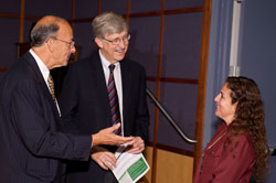 PHOTO: Dr. Roger I. Glass, Director Dr. Francis Collins, and Dr. Patricia Garcia, all smiling, speak together.