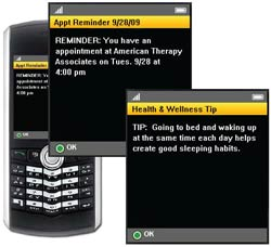 PHOTO: cell phone with screen shots of appointment reminder and health & wellness tip