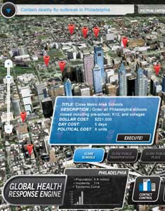 GRAPHIC: screen capture of a video game, showing a graphic of a map of a city, red arrows pointing to points in the city