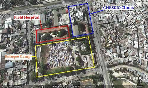Aerial google-maps generated view of GHESKIO area, full text description follows