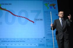 Dr Rosling stands, speaking and gesturing, in front of projected slide showing bubble graph