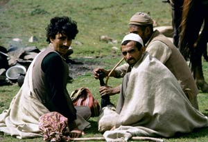 Three Indian men sit on the grass in a field, one smokes a water pipe, horses in background