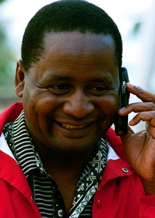 A man from Mozambique talking on his cell phone.