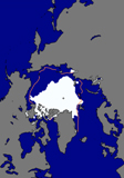 A satelite image shows the retreat of the Arctic ice cap as of Sept. 29. Photo: NASA