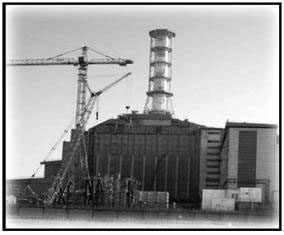 a black and white photo of Chernobyl
