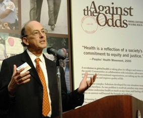 Dr. Roger Glass speaking at the opening of NLM's global health exhibit