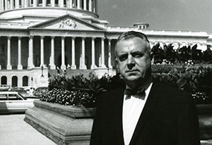 File photograph of Representative John Edward Fogarty standing outdoors in front of the capitol building