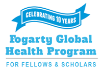 Ribbon reading Celebrating 10 Years. Fogarty Global Health Program for Fellows & Scholars