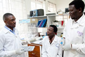 three male researchers in white coats consult, work together in lab in Uganda