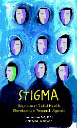 Stigma conference image, painting of masks on blue background