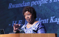 Dr. Agnes Binagwaho speaking at a podium