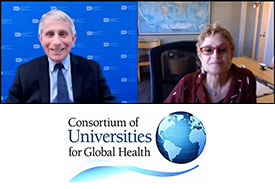 Photo courtesy of CUGH. Side-by-side screenshot of Dr. Anthony Fauci speaking with Dr. Michele Barry during the 2021 virtual CUGH annual meeting. CUGH logo.