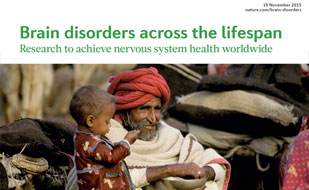 Portion of the cover of journal supplement on brain disorders research published by Nature