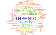 Word cloud created from survey responses, largest words include: research, fogarty, career, training, health, program, global