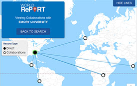 Shreenshot of World Report showing direct award linked to 5 collaborations at research sites acround the world